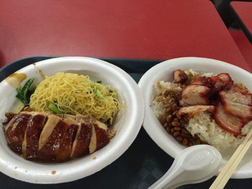 香港油鶏飯麺のチキンヌードルと叉焼飯
