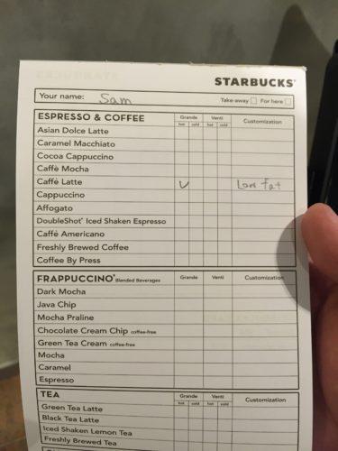 Starbucks Bangsar Village IIの注文表